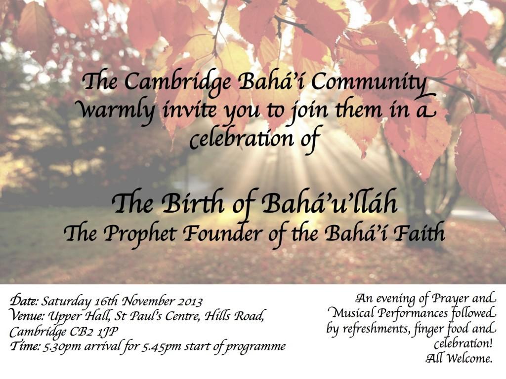 Birth Of Baha'u'llah Flyer
