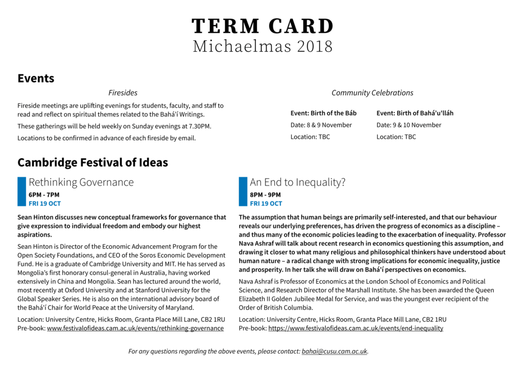 Below is our term card for Michaelmas 2018. We look forward to welcoming you at our events this year!