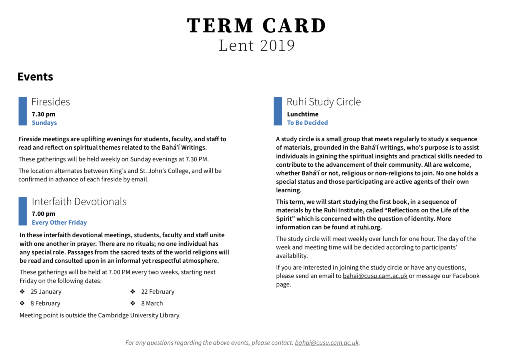 The term card for Lent 2019 has been attached below. We look forward to welcoming you to our activities this term!